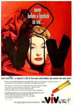 Viv Lipstick ad, October 1954. #vintage #1950s #makeup #beauty
