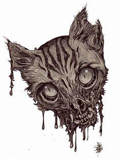 Zombie Art : Zombie Cat Head #6