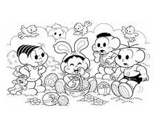 desenho Turma da Monica na Páscoa, colorir Turma da Monica na Páscoa