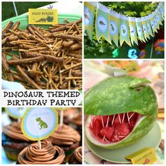 PlaceOfMyTaste: DINOSAUR THEMED PARTY { ...and FREE printables } Like the food ideas.