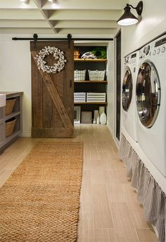 New Laundry Room: The Reveal! The cotton wreath came from Shayna, The Wood Grain Cottage online shop which is opening soon. April 2015. http://www.thewoodgraincottage.com/2015/01/26/our-online-shop/: