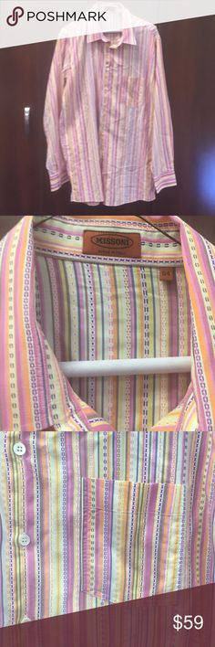 Gorgeous men's Missoni summer shirt sz 54, L/XL US Gorgeous men's summerweight shirt with beautiful colors made by Missoni in Italy. Unmatched quality and style! Size euro 54, L or XL in US.  Good used condition, look at pictures and ask questions. No trades Missoni Shirts Casual Button Down Shirts