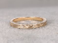Antique Wedding Band Solid 14k Yellow Gold Filigree Flower Annivesary Ring