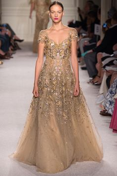 Metallic and Floral Embellished Gold Gown, Marchesa Spring 2016 Ready-to-Wear collection.