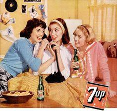7-up vintage ad, 1959 - teenagers on the telephone