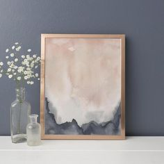 Navy Blue and Blush Watercolor Painting Modern Abstract Giclee Print or Canvas - Blue and blush, Modern Home Artwork, Abstract Print, Pink and Navy Watercolor Painting, Trendy Home - Blue Abstract, Abstract Print, Diy Abstract Art, Water Color Abstract, Abstract Oil, Art Bleu, Watercolor Paintings Abstract, Art Paintings, Painting Art