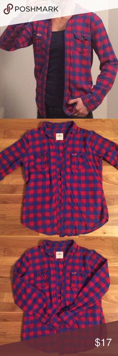 Hollister Red and Blue Soft Flannel GREAT CONDITION! Unlike most flannel's these days, this one is soft & comfy!! Hollister Tops Button Down Shirts