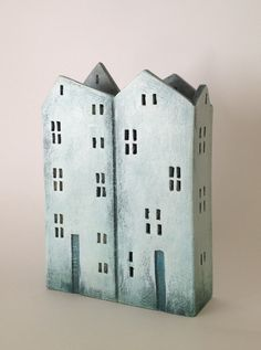 ceramic box-shaped house made in high fired stoneware clay,painted with acrylic colors