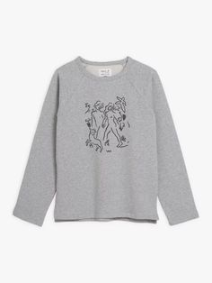 sweat mixte brodé Carne Bollente chiné gris | agnès b. Fleece Sweater, Graphic Sweatshirt, Sweatshirts, Sweaters, Collection, Fashion, Gray, China, Moda