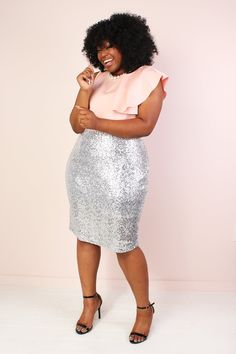 Plus Size Stretch Sequin Pencil Skirt