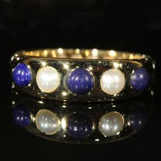 Antique Lapis and Pearl 5 Stone Ring, Hallmarked 1871