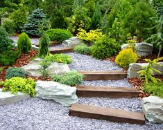 gravel wood stairs in the garden