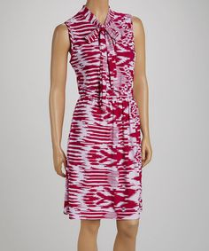This Plum Tie-Collar Ikat Dress - Women by jon & anna is perfect! #zulilyfinds