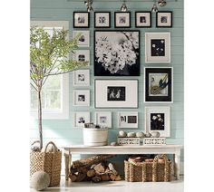 black & white frames, black and white mats, b&w photos, all forming a large rectangle