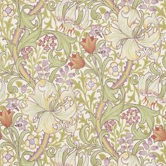 William Morris Golden LIly - Olive Russet. Mönster från sent 1800-tal och Arts & Craftsrörelsen. Byggfabriken.