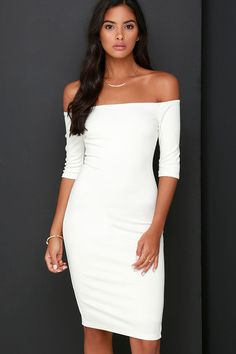 Lulus Exclusive! If being chic comes naturally, then that must be why you love the Girl Can't Help It Ivory Off-the-Shoulder Midi Dress! Medium-weight stretch knit offers a fitted look across an off-the-shoulder bodice with classic half sleeves. A bodycon fit enhances your hourglass shape down to a modest midi hem (with kick pleat at back). Hidden back zipper.