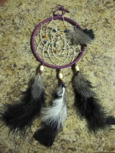 Dream catcher. A little bit more modern with the black and white feathers.