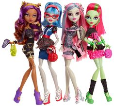 Clawdeen Wolf, Ghoulia Yelps, Rochelle Goyle and Venus McFlytrap Ghouls' Night Out Monster High Dolls 4-Pack