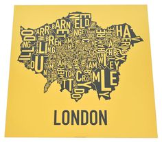 Typographic Maps Of London. One of my fav. places