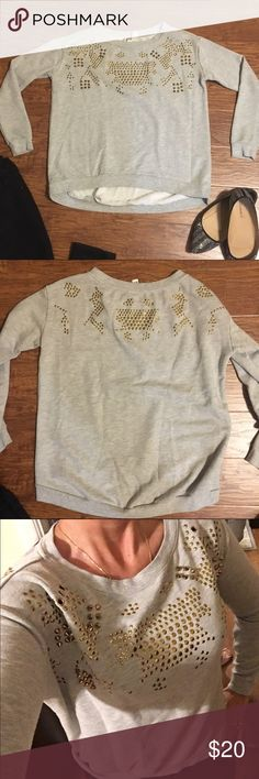Gray studded sweatshirt by forever 21 Cool sweatshirt from forever 21. Gray with gold shiny studs and spikes. Size small. Like new. MEASUREMENTS LAYING FLAT:   Armpit to armpit: Waist: Length from shoulder to bottom: Sleeve: Forever 21 Tops Sweatshirts & Hoodies
