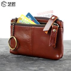Men Oil Wax Leather Small Coin Change Zipper Wallet With Keyings Holder Leather Purses, Pu Leather, Id Wallet, Zip Around Wallet, Wax, Coins, Coin Purse, Card Holder, Change