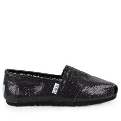 Toms Womens Black Original Classic Glitter Canvas Shoes ($28) ❤ liked on Polyvore featuring shoes, flats, toms, black, glitter flat shoes, flat shoes, canvas shoes, black shoes and kohl shoes