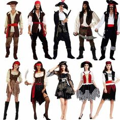 Adults Pirates Cosplay Costume For Men Women Performance Pirates Costumes Party Purim Halloween Christmas Adult Pirate Costume, Pirate Cosplay, Cosplay Costumes For Men, Pirate Halloween Costumes, Holiday Costumes, Girl Costumes, Costumes For Women, Men Cosplay, Mermaid Costumes