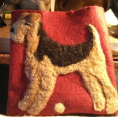 Airedale Ipad cover needle felted