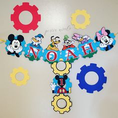 Mickey Mouse clubhouse birthday banner! Message Portianicolecreation on Etsy to order! #unique #mickeymouse #mickeymouseclubhouse #mickeymousedecorations #mickeymousebanner #birthdaybanner #handmade #etsy #partydecorations