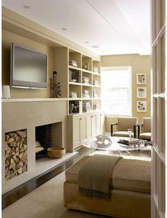 TV Over Fireplace Design, add room devide Tv Above Fireplace, Fireplace Bookshelves, Fireplace Built Ins, Fireplace Design, Bookcases, Painted Bookshelves, Simple Fireplace, Bookcase Wall, Bedroom Fireplace