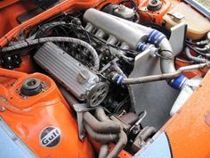 """Porsche 924 Turbo """"Gulf"""" 2.0liter 931 unit, with everything custom (intake manifold with ITB's, twin-scroll exhaust manifold, side exhaust pipe, GTR intercooler etc). Controlled by VEMS to control boost electronically and implemented a knock sensor even though that engine never had it originally (it came with Bosch K-Jetronic from factory). Engine produces 280 hp @ 1 bar and 330 hp @ 1,3 bar boost with a smallish but responsive Schwitzer S2A turbocharger."""