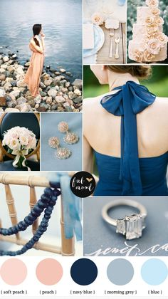 Blue Grey Navy Blue and Peach Wedding colours palette - beach wedding inspiration