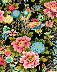 Императорская Коллекция - Винтаж – Ткани Японии. Элегантные цветочные принты. Садовая коллекция. Японские пионы растут в этом саду только для вас. Радуга оттенков, каждый переходит от глубоких и темных оттенков на краях до пастели в середине, и всё окантовано изящно прорисованной линией. Шикарно!!!