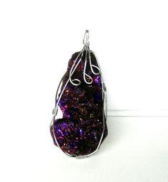 $24.00 Metallic Purple Druzy Pendant  Sparkly Purple Wire by BijiBijoux https://www.etsy.com/listing/173764036/metallic-purple-druzy-pendant-sparkly