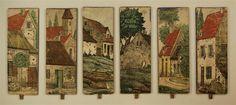 Salon. - Seitenkulissen. Nr. 1915 Verlag Robrahn. / Dorf - Seitenkulissen Nr. 4888 Verlag OERI