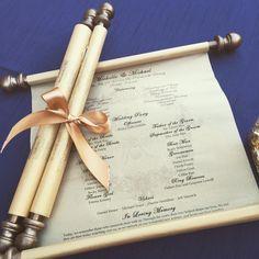 Wedding program scroll - example from Cherokee Ranch #royalwedding #weddingdecor #program #scroll #weddingprogram