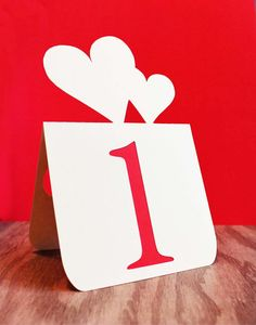 Wedding Table Numbers with double heart Accent 1 to by tiffzippy, $45.00