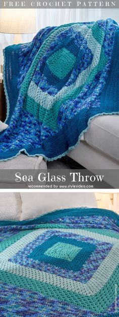 Sea Glass Throw Free Crochet Pattern #freecrochetPatterns #crochetafghan