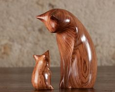 Wooden Cat Statue, Wooden Cat Figurine, Cat and Mouse Carved From Honduras Rosewood by Perry Lancaster, Original Design Framed Fabric, Framed Prints, Cat Statue, Wooden Cat, Honduras, Lancaster, Contemporary Design, Hand Carved, Carving