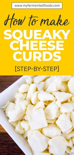 Squeaky cheese is young and fresh cheese curds, formed during making Cheddar cheese. They are so young, they make a squeaking sound when you chew on them due to their rubbery texture. Let's see how to make it. . . . #MyFermentedFoods #FermentedFoods #CheeseRecipe #Cheese #HardCheese #SoftCheese #SqueakyCheeseCurds #SqueakyCheese Healthy Meals To Cook, How To Eat Paleo, Healthy Dinner Recipes, Whole Food Recipes, Healthy Eating, Healthy Food, Probiotic Foods, Fermented Foods, What Are Cheese Curds