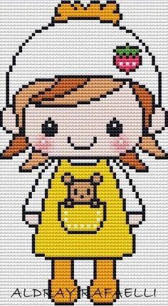Kawaii Cross Stitch, Cross Stitch For Kids, Cross Stitch Baby, Embroidery Patterns, Hand Embroidery, Knitting Patterns, Cross Stitch Designs, Cross Stitch Patterns, Modele Pixel Art