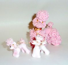 Vintage 1950's Pink Spaghetti Ceramic French Poodle with 2 Puppies from alifewelllived on Ruby Lane