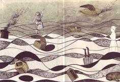 Adolf Hoffmeister, illustrations for Lautreamont's Poesies (Bratislava, 1967). Endpapers.