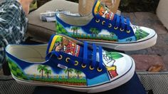 Custom Painted Sonic the Hedgehog Sneakers for Sidewalk Spin-Dashes Painted Sneakers, Painted Shoes, Custom Vans, Custom Shoes, Sonic Shoes, Lego City Undercover, Sonic Birthday, 7th Birthday, Converse
