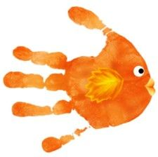 gold fish hand print. (all these different ideas for using your hands and feet as templates for different animals and objects are a great way to encourage creativity and out-of-the-box, multidimensional thinking.)