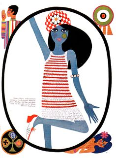 Images scanned by Sweet Jane from Swinging Sixties-Fashion in London and Beyond 1955-1970 published by the V Original article published in Queen Magazine June 1965 - Illustrations by Caroline Smit