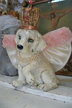 Angel puppy statue crowned princess wings pink by AnitaSperoDesign, $80.00