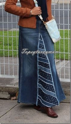 ideas skirt denim diy old jeans Diy Clothes Refashion, Diy Clothing, Sewing Clothes, Sewing Jeans, Skirt Sewing, Sewing Diy, Diy Old Jeans, Recycle Jeans, Diy Recycle