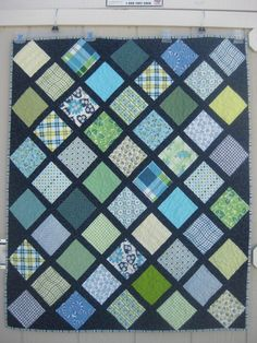 "Charm Squares on Point quilt with link to tutorial (to save you doing the math yourself). Size"" 37"" x 45"" 