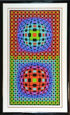 """Depicting colorful geometric optical art design, signed and numbered 19/300 in pencil by the artist LL, Victor Vasarely, born in Hungary and lived in France (1908-1997) known for color, optical art and geometric designs, 72"""" H x 40"""" W, circa 20th century."""